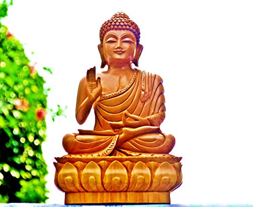 CraftVatika 8 Inch Tall, Big Buddha Statue in Wood, Hand-Carved Wooden Buddha Figurine – Buddha Decor Sculpture with Hand Raised in a Blessing Gesture -Sitting on Lotus Idol Gift