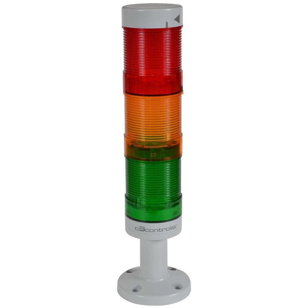 c3controls WTL-50P1-MCDGDADR Tower Light, 50mm, Polycarbonate Short Base, 24VAC/DC, 3 Tier Assembly, P1:Green Cont LED Module & Lens, P2:Amber Cont LED Module & Lens, P3:Red Cont LED Module & Lens