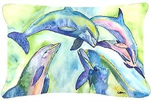 Caroline's Treasures 8548PW1216 Dolphin Canvas Fabric Decorative Pillow, Large, Multicolor
