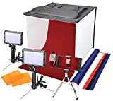 Emart 16'' x 16'' Table Top Photo Portable Photography Studio, Lighting LED Light Box Shooting Tent Kit, Folding Photo Box Tent, backdrop background,Camera Tripod & Cell Phone Holder