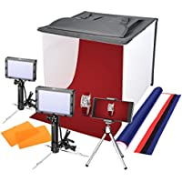 Emart 16 x 16 Table Top Photo Portable Photography Studio, Lighting LED Light Box Shooting Tent Kit, Folding Photo Box Tent, backdrop background,Camera Tripod & Cell Phone Holder