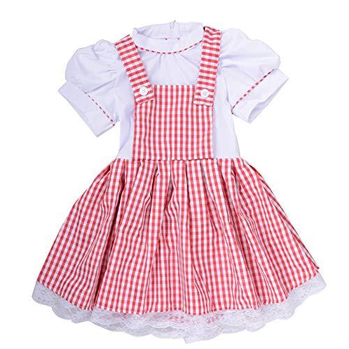 Summer Dress Girls Gingham Vintage Plaid Strappy Suspender School Tutu Dresses (Red, -