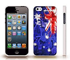 iStar Cases? iPhone 4 Case with Australia Flag Painted Splash Texture Design , Snap-on Cover, Hard Carrying Case (White)