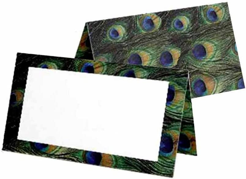 Peacock Print Place Cards - Tent Style - White Blank Front with Border - Placement Table Name Seating Stationery Party Supplies - Any Occasion or Event - Dinner Food Display - Product Tag Label Set