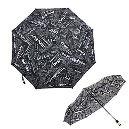 FakeFace Creative Newspaper Ultraslim Compact Triple Folding Automatic Umbrella Super Windproof Strong Rib Auto Open & Close Travel Anti-UV Rain Sun Umbrellas UV Protection Parasol