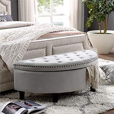 Brika Home Half Moon Velvet Upholstered Storage Ottoman in Light Gray