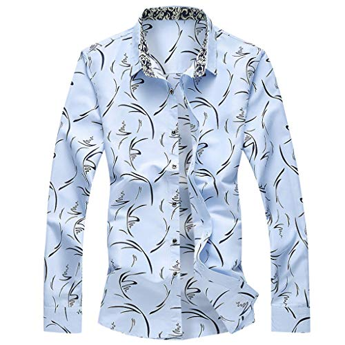 Dress Shirts Casual Button Down Shirt Fashion Shirts Long Sleeve Beach Tops Loose Casual Blouse Men (3XL,1- Blue) -