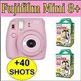 Fujifilm Kit: Mini 8+ Strawberry Instant Film Camera with 2 Instax mini film Twin pack