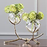 Modern Twig Branch Metal Glass Bud Vase | Gold Double 2 Centerpiece Sculpture