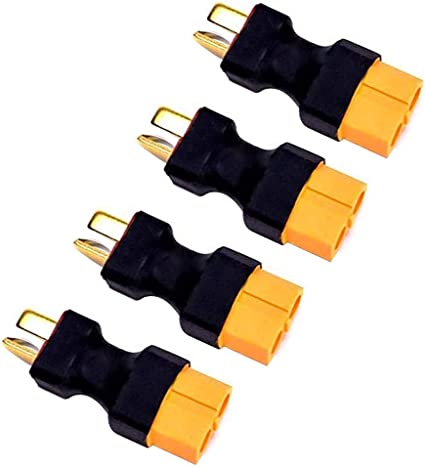 XT60 to Deans Ultra T Plug Adapter,No Wires for RC LiPo NiMH Battery ESC Connector Eat-XT60 Male to T Plug Female 2PCS,Female to Male 2PCS Black