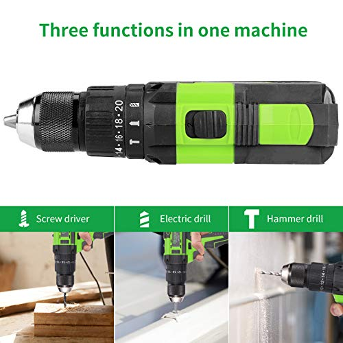 Cordless Drill Driver, Ginour 18V Combi Drill, Hammer Drill 20+3 Torque, 66 Accessories, 2Pcs 2000mAh Lithium Batteries, 45N.m Electric Drill Screwdriver, 13mm Collet, Double Speed, Led Light (Black)