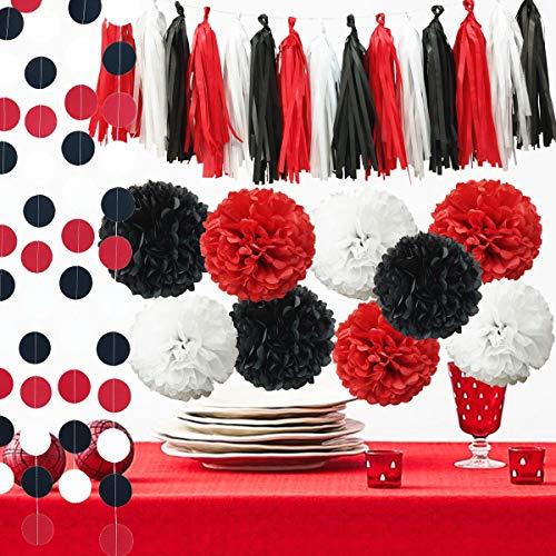 InBy 23pcs Mickey Mouse Party Decoration Tissue Paper Pom Poms Tassel Garland Kit for Baby Shower Bridal Weddinig Bachelorette Birthday Graduation Supplies - Red, Black, White