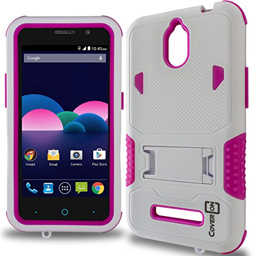 ZTE Obsidian Case, CoverON [DuraShield Series] Drop Proof Phone Cover Grip + Bumper + Stand Hybrid Case for ZTE Obsidian - Hot Pink & White (Metro Zte Phone Cases)