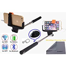 Wonbsdom Extendable Cable Control Built-in Remote Self-portrait Stick Monopod-Black[No Bluetooth Matching & Battery Free]with Adjustable Phone Holder for Smartphones iPhone6 5 5s 5c 4s 4 Samsung Galaxy S5 S4 S3 Note4 3 2 Sony HTC,Nokia,etc.