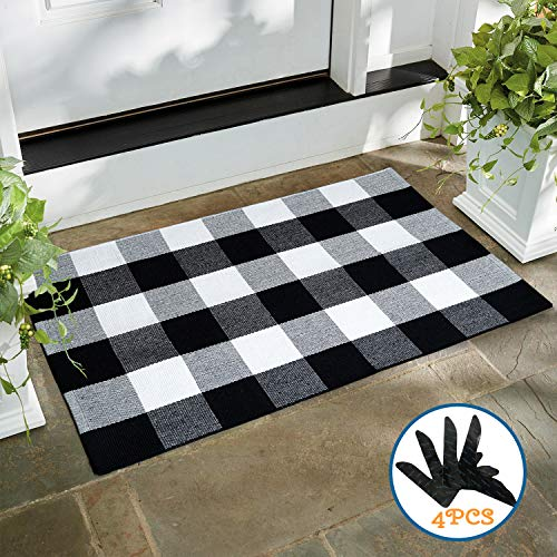 (Winwinplus Handwoven Cotton Rug, Non-Skid, Washable,2' x 3', Black and White Plaid Rug)