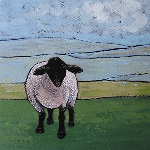 Sheep Illustration Giclee Print, Farm Art - Acrylic Painting - Folk Art Sheep - Wall Decor - Art for Small Spaces