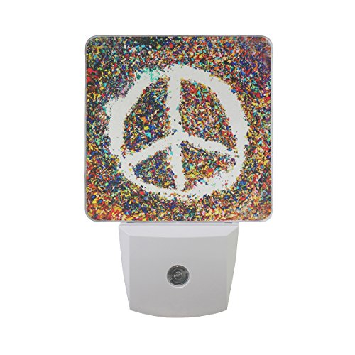 (TropicalLife Set of 2 Goodnight Love and Peace Sign Pattern Theme LED Night Light Dusk to Dawn Sensor Plug in Designs Indoor Home Decor for Adult Kids Baby)