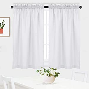 """NANAN White Curtains 45 inch Long Casual Weave Small Window Curtain Kitchen Bathroom Basement Bedroom Drapes - 30"""" x 45"""", White, Set of 2"""