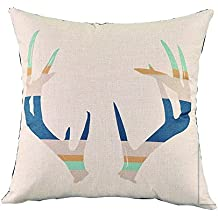 Modern Fashion European Nordic Contracted Deer Animals Simple Ink Painting Watercolor Durable Cotton linen fabric Home Decorative Office Square Throw Pillow Printed Cushion For Sofa Bed (color10)