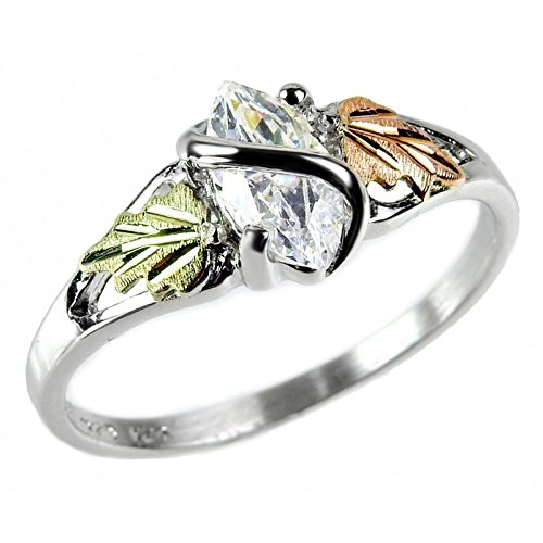Marquise CZ with Leaf Slim-Profile Ring, Sterling Silver, 12k Green and Rose Gold Black Hills Gold Motif, Size - Black Hills Mom Ring Gold