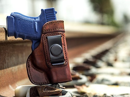 OutBags USA LS2G43 (BROWN-RIGHT) Full Grain Heavy Leather IWB Conceal Carry Gun Holster for Glock 43 G43 9mm. Handcrafted in USA.