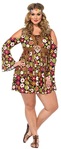 UHC Women's Hippie Starflower 60s 70s Floral Dress Outfit Halloween Costume, Plus (70s Superheroes Costumes)