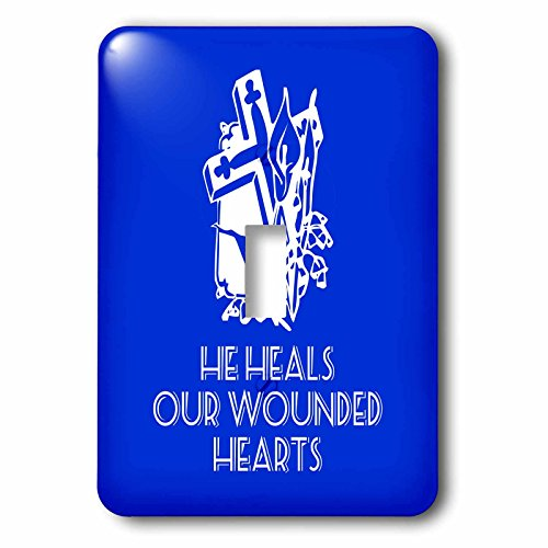 3dRose Alexis Design - Christian - Cross and flowers, the text He heals our wounded hearts on blue - Light Switch Covers - single toggle switch (lsp_286185_1) by 3dRose