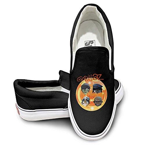 PTCY GORILLAZ Rock Band Fashion Unisex Flat Canvas Shoes Sneaker 41 Black