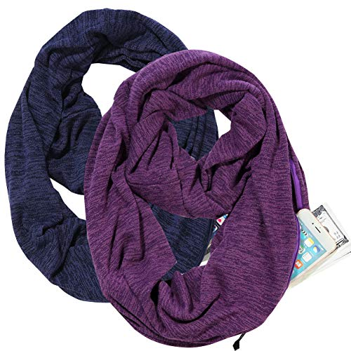 Infinity Scarf With Zipper Pocket For Women Girls - Convertible Winter Soft Stretchy Travel Scarves (Purple+Navy (2 Pcs))