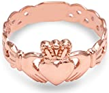 Ladies 10k Rose Gold Claddagh Ring with Trinity Band (5.5)