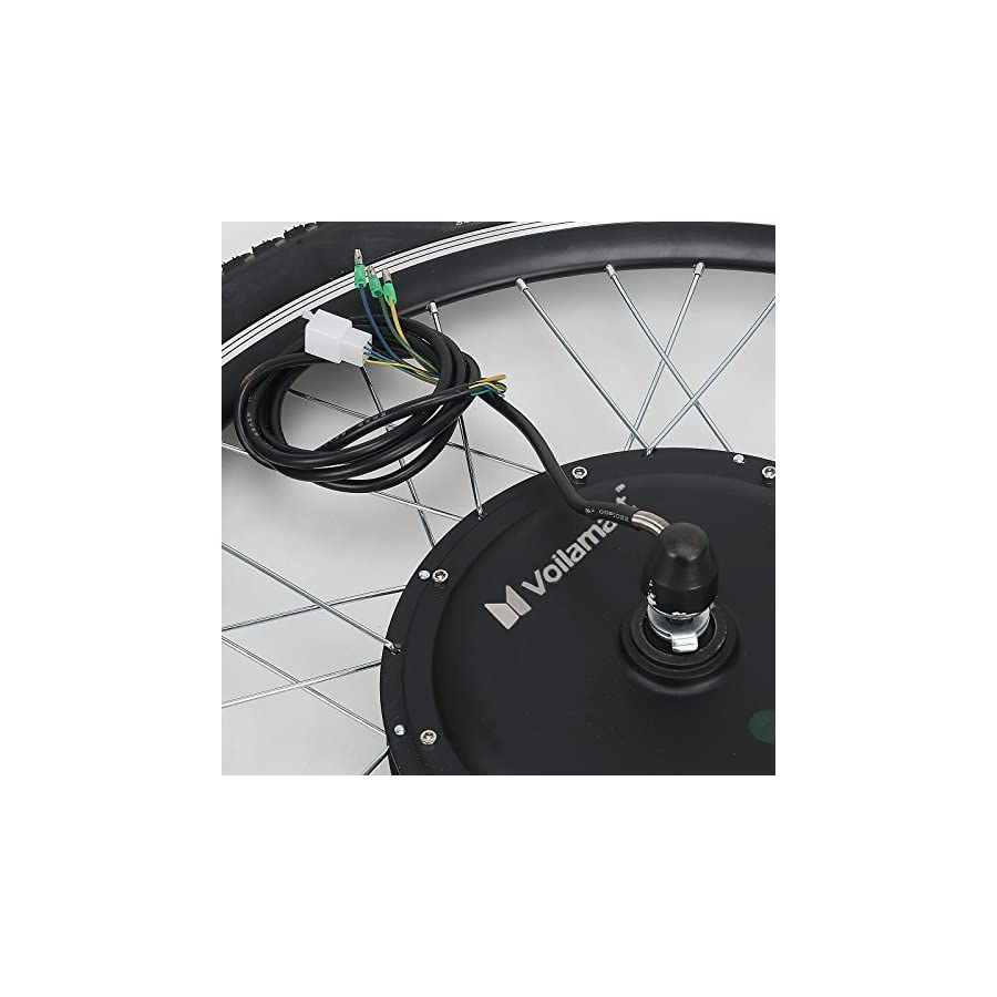 """Voilamart Electric Bicycle Kit 26"""" Front Wheel 48V 1000W E Bike Conversion Kit, Cycling Hub Motor with Intelligent Controller and PAS System for Road Bike"""