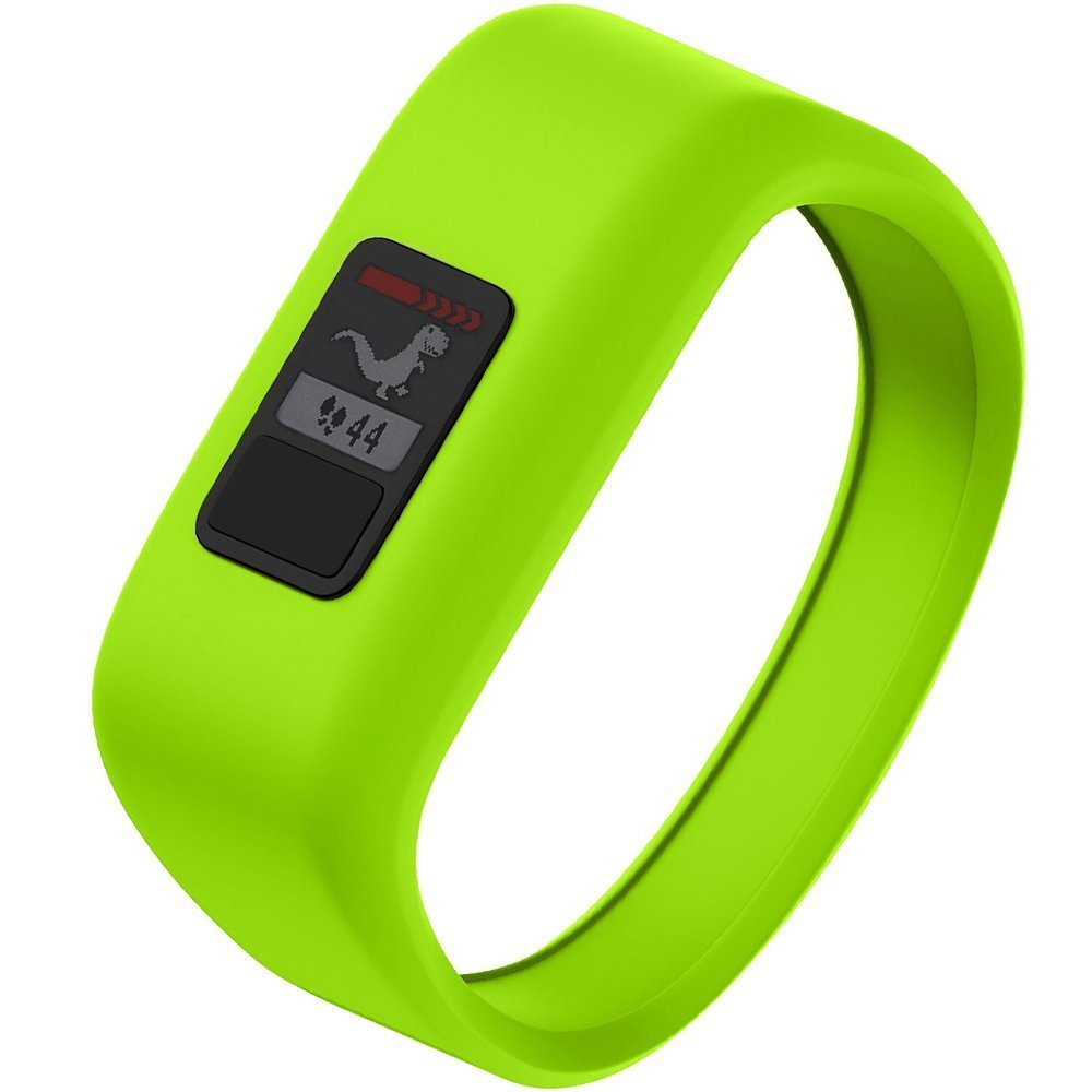 NotoCity Compatible with Garmin Vivofit JR/JR 2/3 Bands,Soft Silicone Replacement Watch Bands for Boy Girls Kids,Green Large by NotoCity