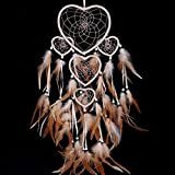 Large Handmade Dream Catcher Traditional Dreamcatcher Feather Wall Hanging Decoration Ornaments Five Hearts Beige