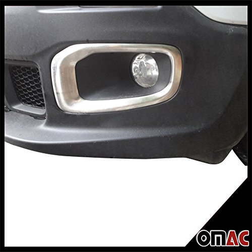 OMAC USA Jeep Renegade S. Steel Chrome Front Fog Headlight Surround Lamp Bezel Trim Set by Recro Garage