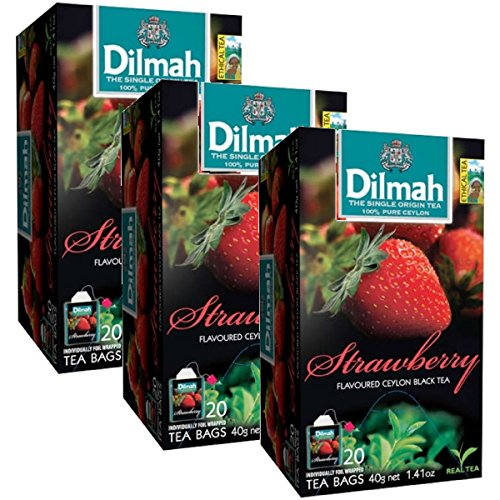 Ceylon Teas Strawberry Tea - Dilmah Strawberry Flavored Ceylon Black Tea - 20 Tea Bags X 3 Pack - Sri Lanka Ceylon Dilmah Strawberry Tea Real Tea