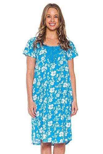 Patricia Women's Cotton Nightgown Sleepshirt Nighty (Turquoise, Large)