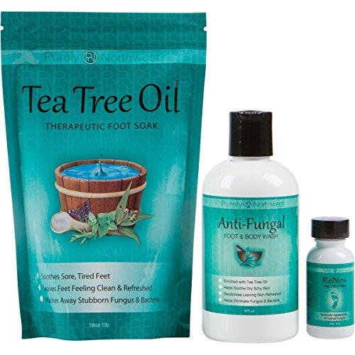 Purely Northwest Toenail Fungus Treatment with 16 oz Tea Tree Oil Foot Soak, 9 fl oz Antifungal Wash and 1 fl oz ReNew Nail Solution