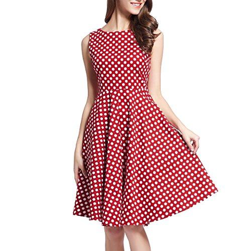 Oyza9pe Women's 1950's Rockabilly Retro Audrey Swing Skaters Party Dress XXL Red