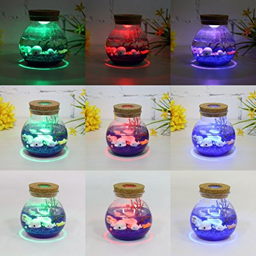 Jeteven Microlandschaft DIY LED Glass Bottle Light Night Light with Remote Control 4 Modes Home Room Party Christmas Decor