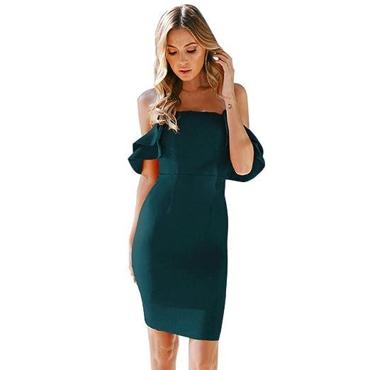 Alixyz Womens Prom Dress Ruffle Off The Shoulder Bodycon Evening Party Short Mini Dress (S