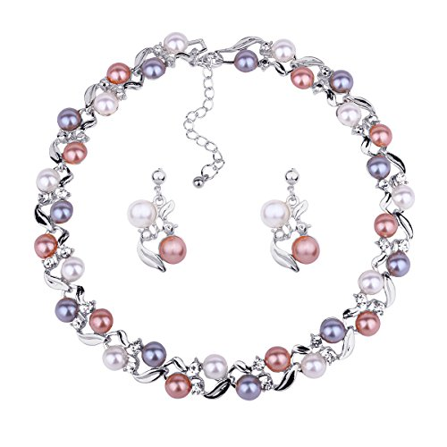 DiLiCa Women Statement Simulated Faux Pearl Bib Choker Necklace and Dangle Earring Jewelry Set ()