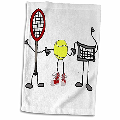 (3dRose Funny Cute Tennis Racket, Ball, and Net Cartoon Characters Towel 15