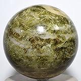 HC Set: Large 3.4'' 2.6lb Vesuvianite Sphere Green Polished Quartz Crystal Ball Natural Mineral Vasonite Idocrase Stone from India + One Polished Aragonite Cabochon from Peru