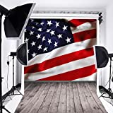 6.5x10ft Laeacco Thin Vinyl Photography Background American Flag with Stars and Stripes Wood Floor Theme Backdop Photo Studio Props