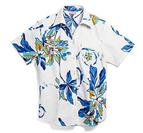 表現マディソンいまMAJUN (マジュン) かりゆしウェア アロハシャツ かりゆし 結婚式 レディース シャツ ボタンダウン ポッピングツリー(スキッパー) ホワイト×ブルー 4L