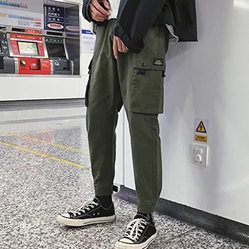 Vert Pantalons Ceinture Hommes Sport Élastique Coton Lâche Cargo Mélange poches Multi Epais Outdoor 7wdpxOqd