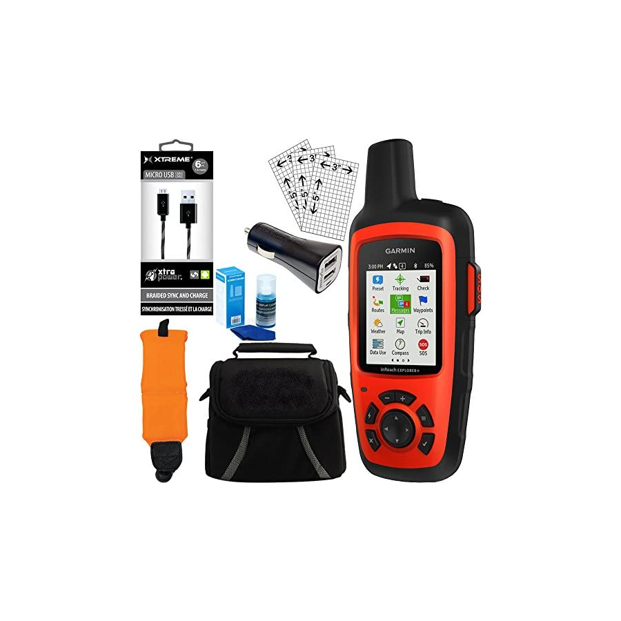 Garmin inReach Explorer+ GPS Bundle w/ Car Charger, Micro USB, Gadget Bag and more