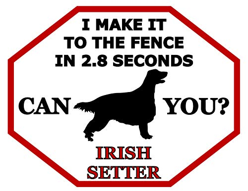 Top Shelf Novelties I Make It to The Fence in 2.8 Seconds Can You? Irish Setter (Silhouette) Laminated Dog Sign (Includes Bonus I Love My Dog Decal) SP1479 (Attn: This is Not an Octagon Shaped Sign)