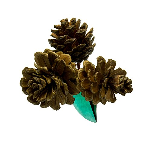 """Designs by Nathan 3.5"""" Artificial Pine Cones Pick with Vintage Emerald-Colored Strass Leaf Chandelier Crystal from Swarovski; For Christmas Tree, Seasonal Wreath, Garland, Gift Boxes, Home Décor (Crystal Emerald Vintage)"""