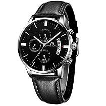 bf324996574dd0 Montre Homme Montre Etanche Sport Chronographe Mode Luxe Date Calendrier  Montres Bracelet en Cuir Décontractée Quartz